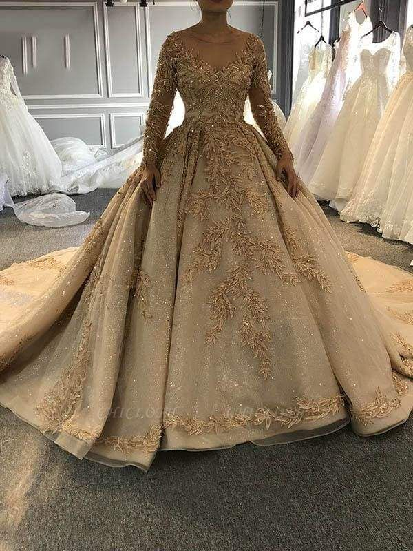 Chicloth Long Sleeves O-Neck Ball Gown Wedding Dresses with Long Train