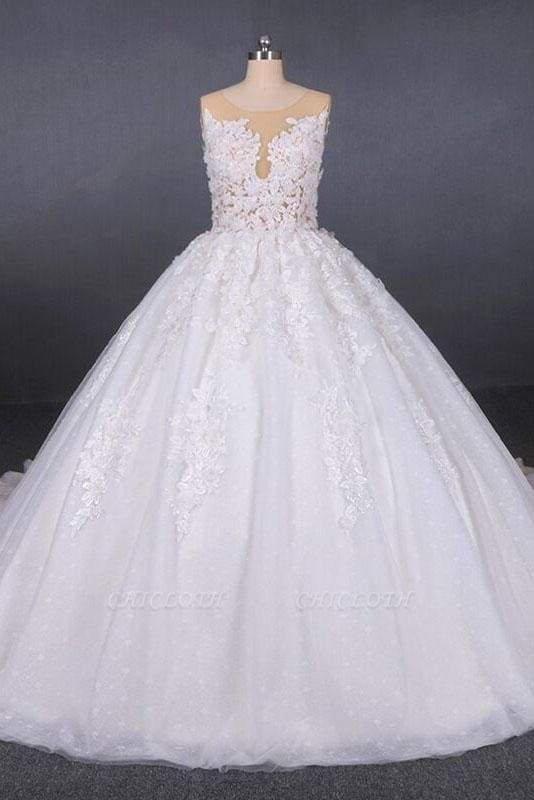 Chicloth Ball Gown Sheer Neck Sleeveless White Lace Appliqued Wedding Dress