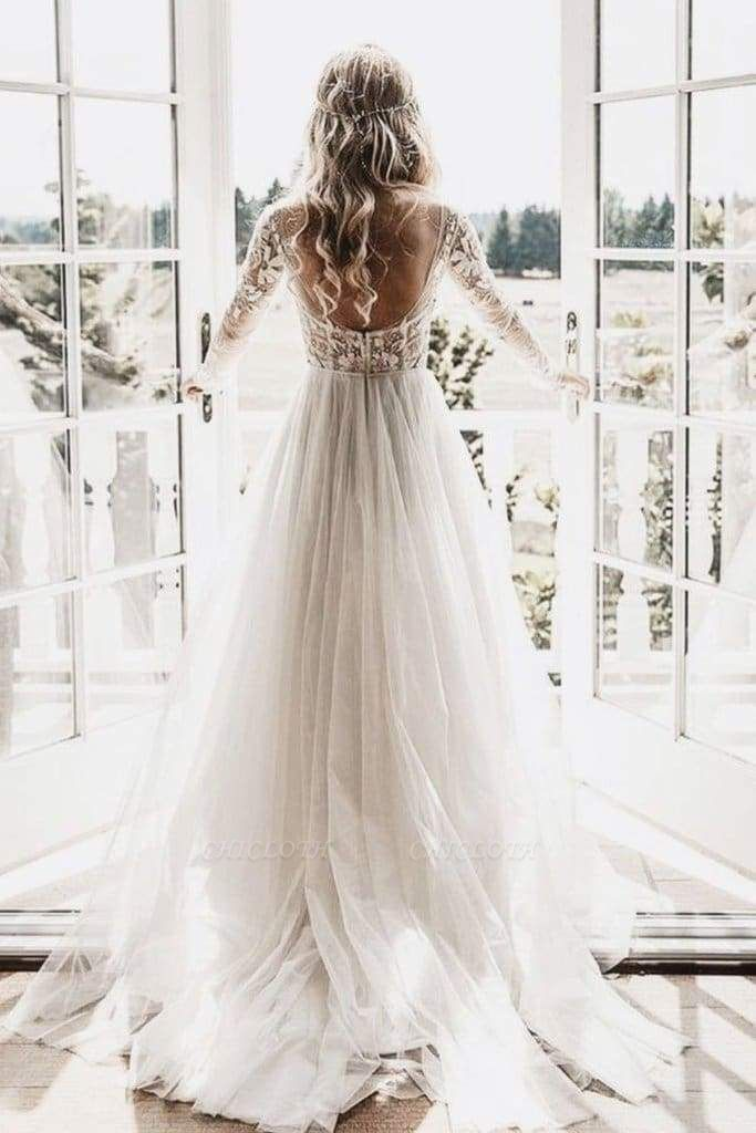 Chicloth Chic A-line Long Sleeve Lace Backless Country Wedding Dress