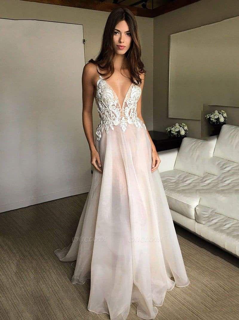 Chicloth Deep V-neck Spaghetti Straps Lace Appliqued Beach Wedding Dress