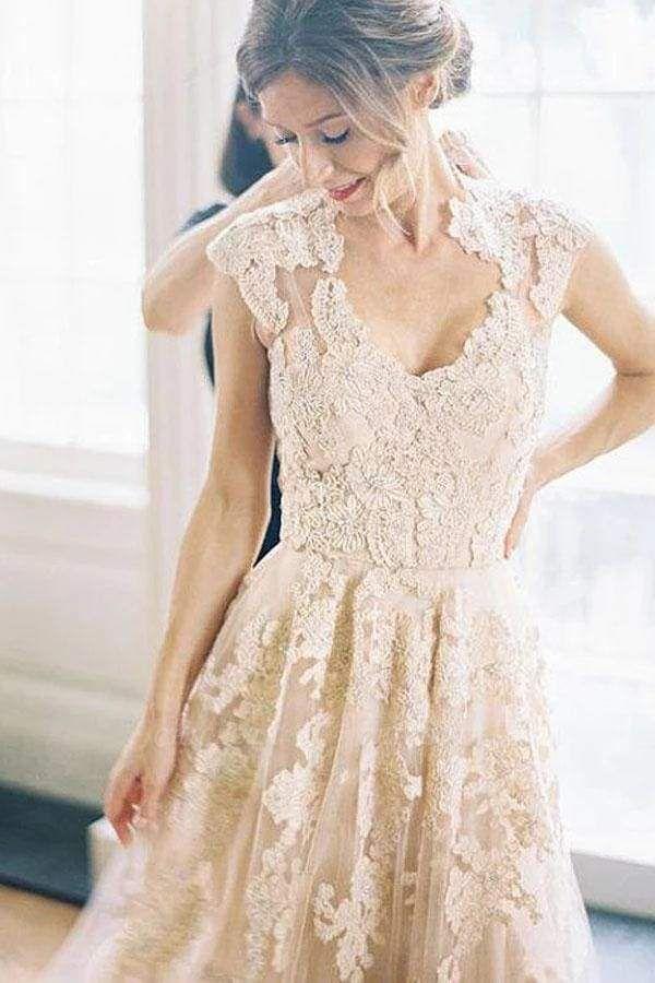 Chicloth Elegant V-neck Sleeveless Cap Sleeves Floor-Length Wedding Dress