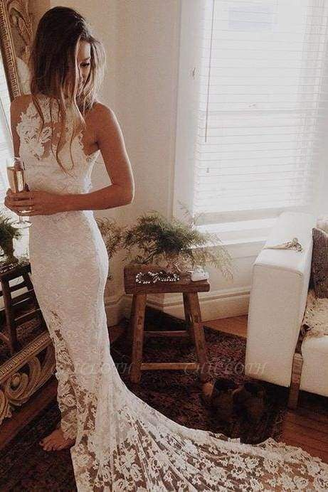 Chicloth Awesome Lace Open Back Beach Mermaid Wedding Dress