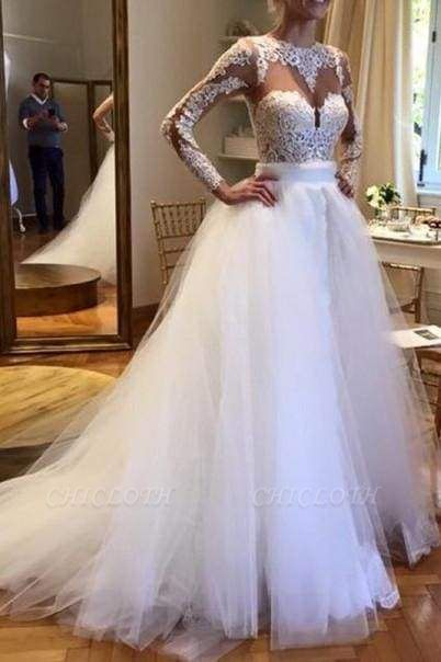Chicloth White Tulle Crew Neck Sheer Long Sleeve Lace Wedding Dress
