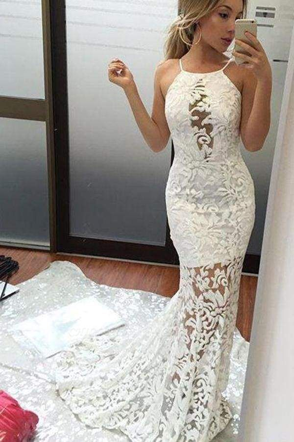 Chicloth Charming Mermaid Brush Train Sexy Ivory Wedding Dres