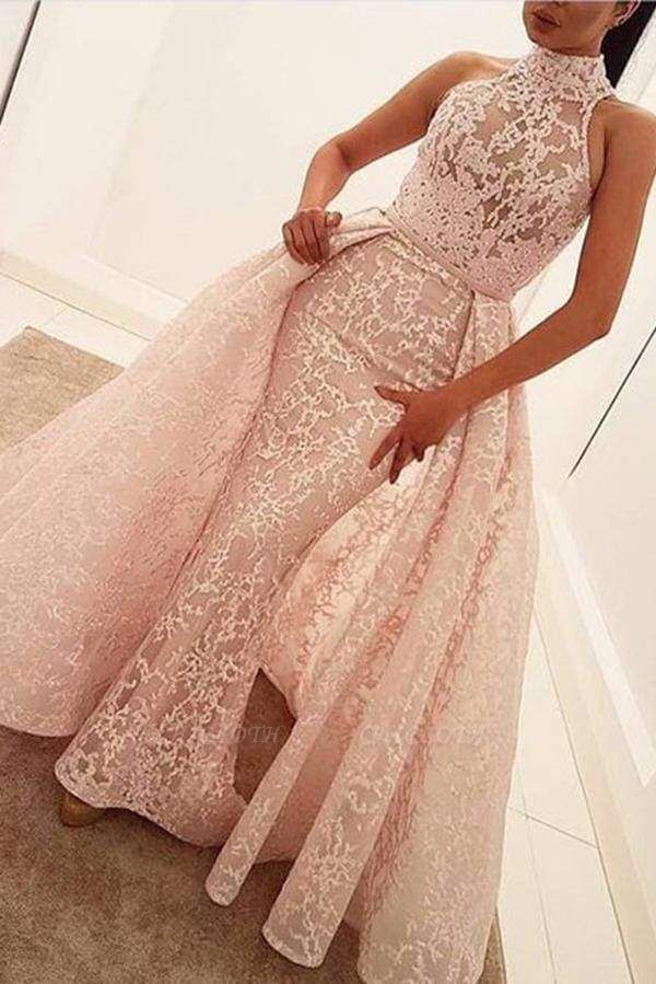 Chicloth Unique Mermaid High Neck Sleeveless Sweep Train Pearl Pink Lace Prom Dress