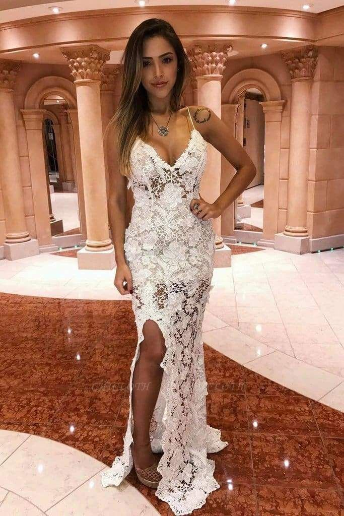 Chicloth Off White Mermaid Spaghetti Straps Long Prom Dress Lace Evening Dresses