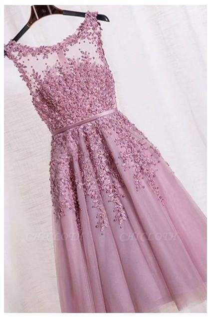 Chicloth Elegant Appliques Formal Short Homecoming Dress Sleeveless Tulle Prom Gown