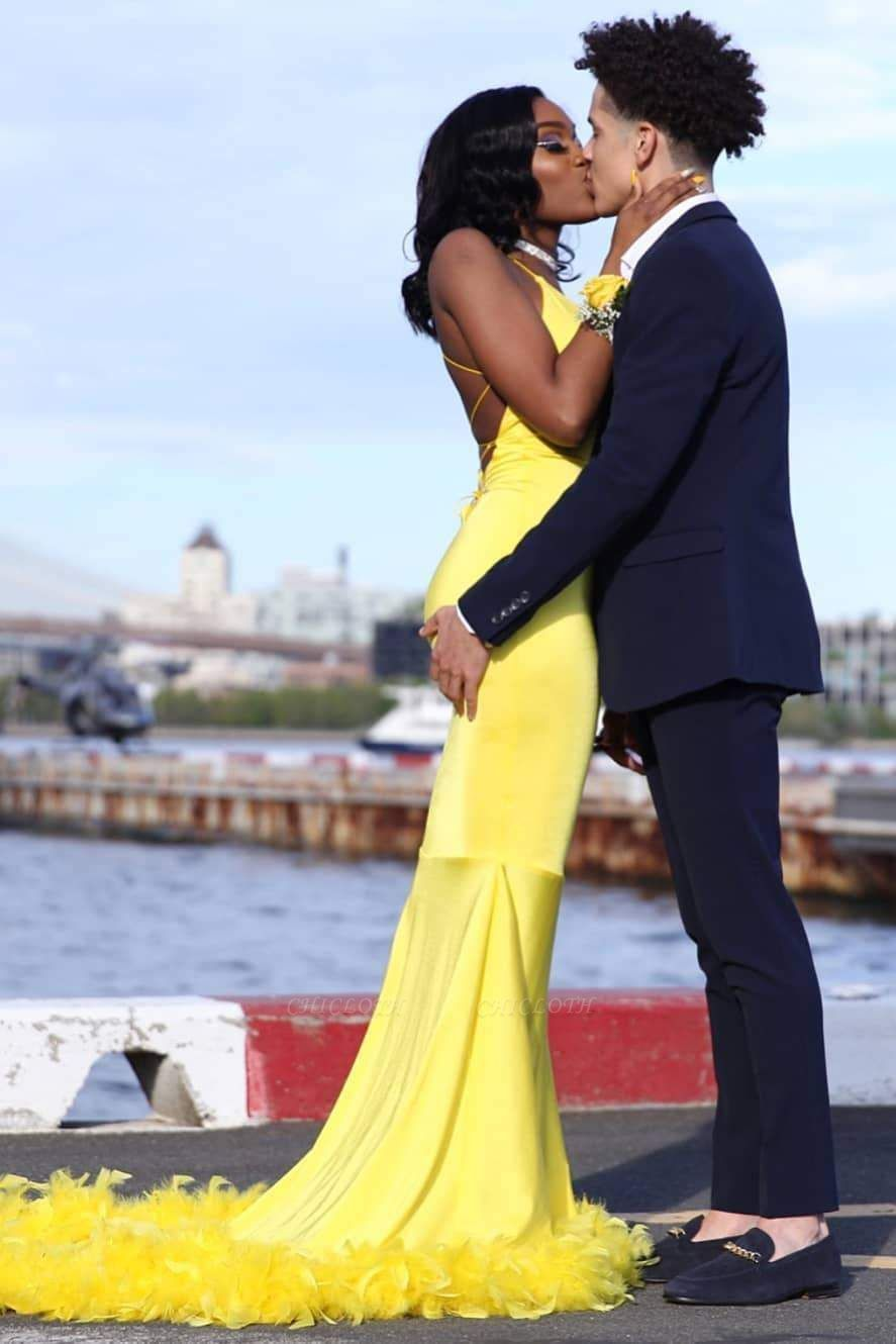 Chicloth Attractive Yellow Mermaid Sleeveless Long Plus Size Prom Dresses