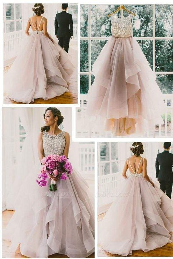 Chicloth Sexy Backless A-Line Beading Long Beach Wedding Dress