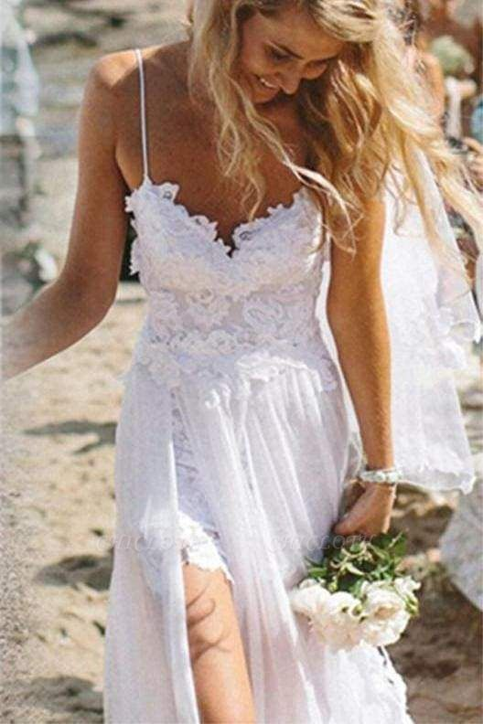 Chicloth Spaghetti Straps White Lace Chiffon Backless Beach Wedding Dress