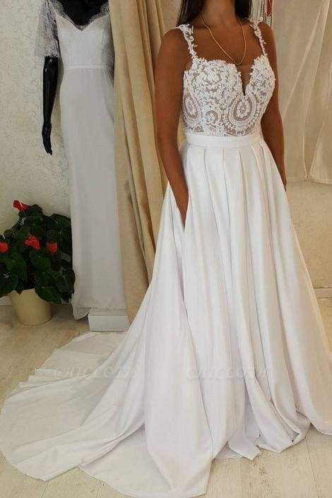 Chicloth Ivory Spaghetti Strap Lace Top A-line Sweetheart Beach Wedding Dress