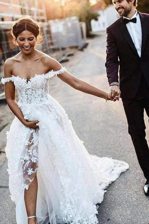 Chicloth White Off the Shoulder Lace Beach Rustic Boho Wedding Dress