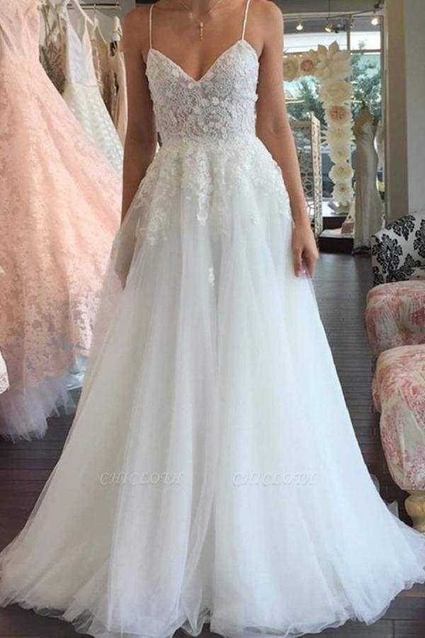 Chicloth A Line Spaghetti Straps V Neck Floor Ivory Tulle Beach Wedding Dress