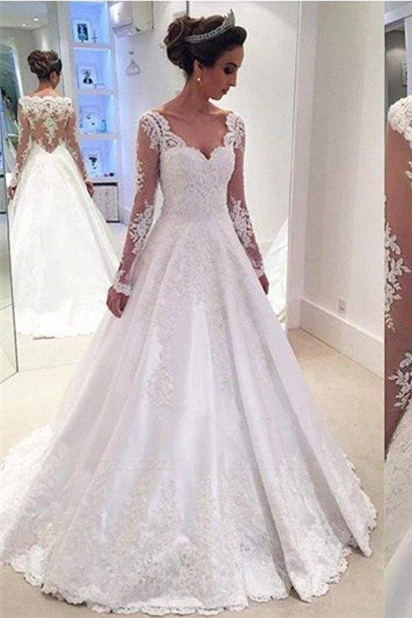 Chicloth Elegant A-line V Neck Long Sleeves Wedding Dress