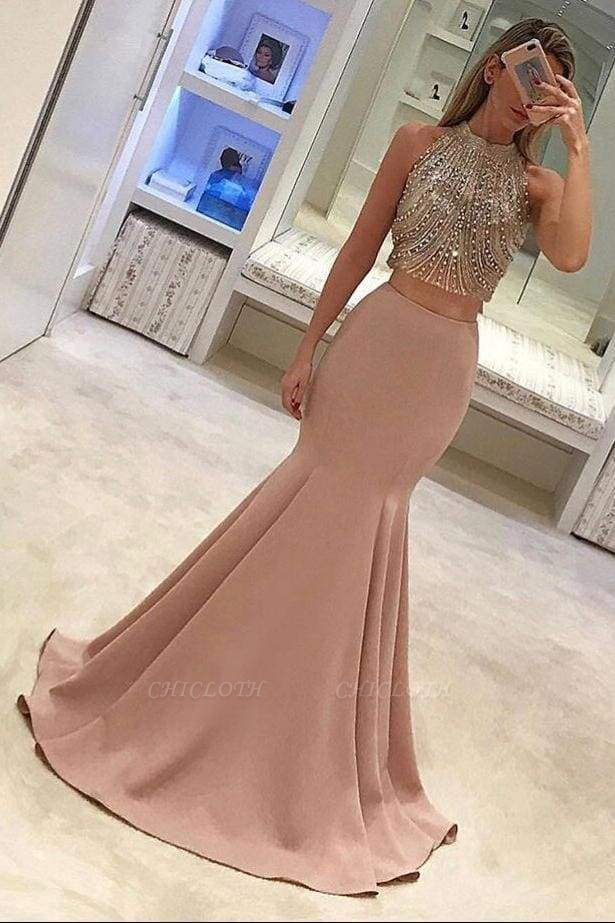 Chicloth Gorgeous Two Piece Mermaid Prom Dresses Beading Long Formal Dress