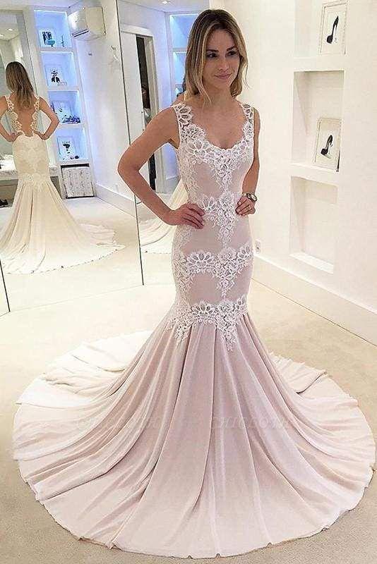 Chicloth Mermaid Appliqued Sleeveless Gown Chiffon Sexy Backless Wedding Dress