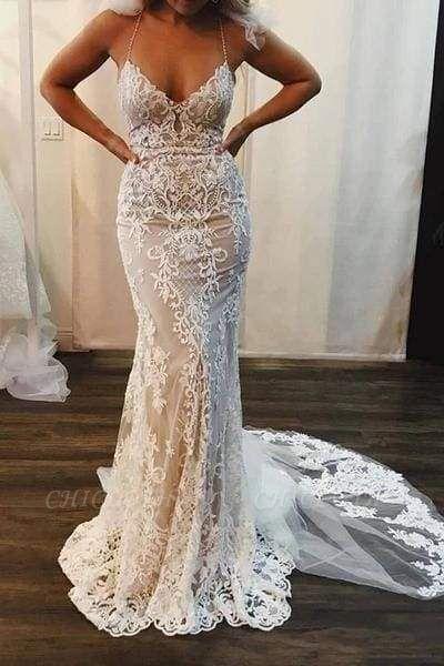 Chicloth Spaghetti Strap Mermaid Lace Applique Long Train Wedding Dress