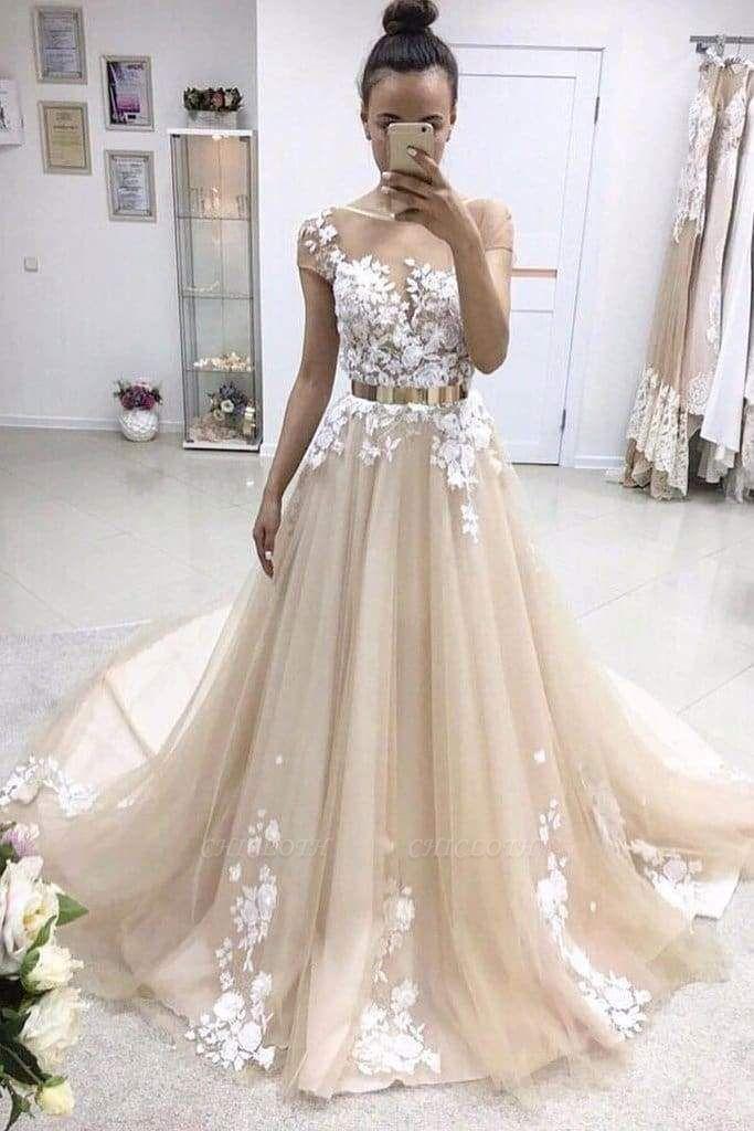 Chicloth A-line Bateau Lace Appliqued Gold Sash Short Sleeves Wedding Dress