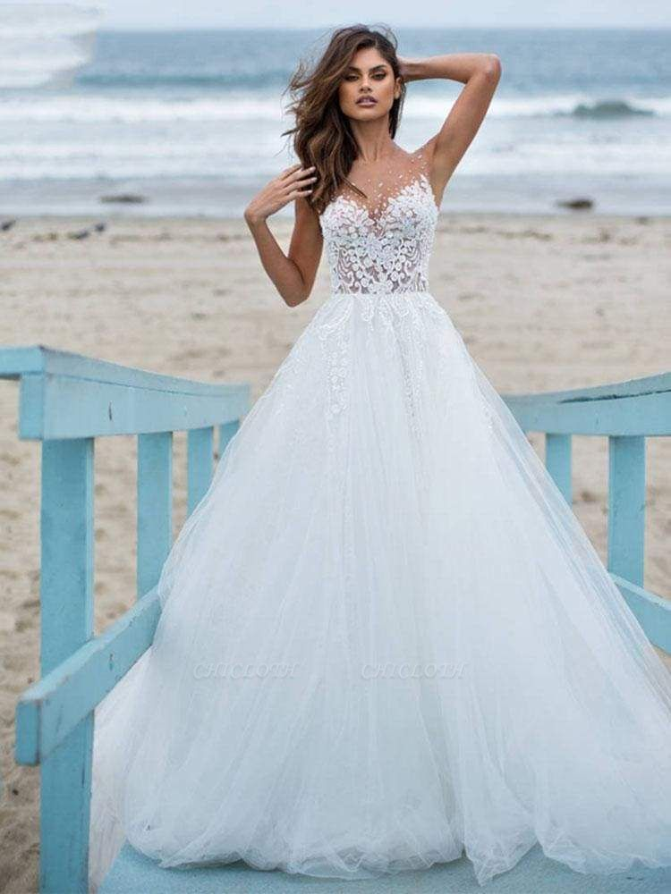 Chicloth Elegant Lace Covered Button Ball Gown Wedding Dresses