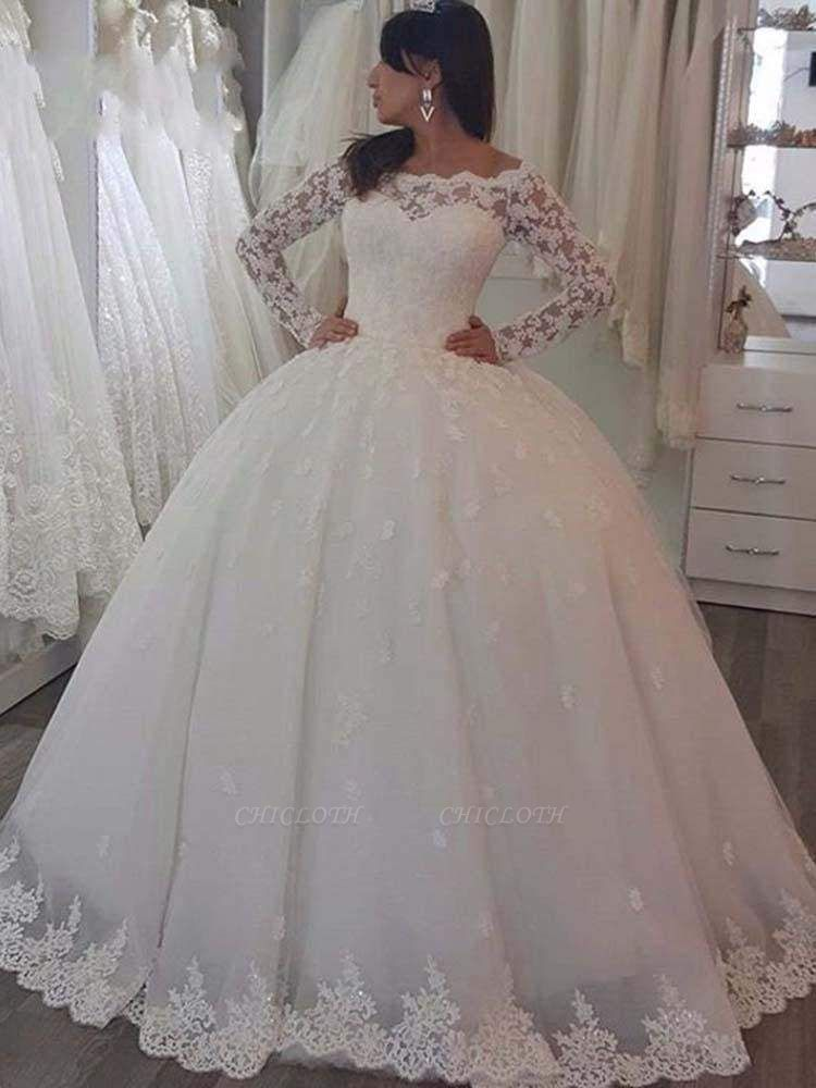 Chicloth Elegant Bateau Long Sleeves Lace Ball Gown Wedding Dresses