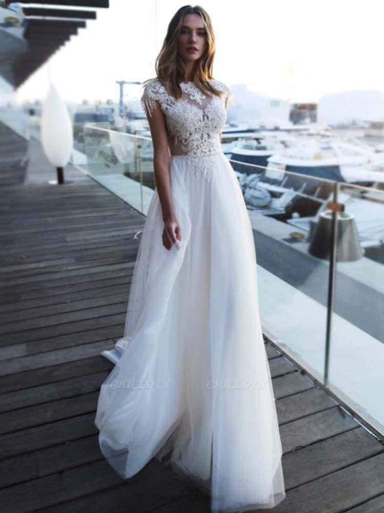 Chicloth Gorgeous Cap Sleeves Appliques Tulle Wedding Dresses