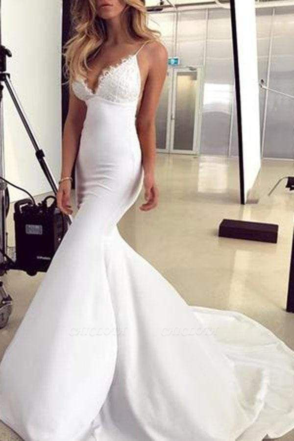 Chicloth Spaghetti Straps Mermaid Lace Appliques Sexy Backless Wedding Dress