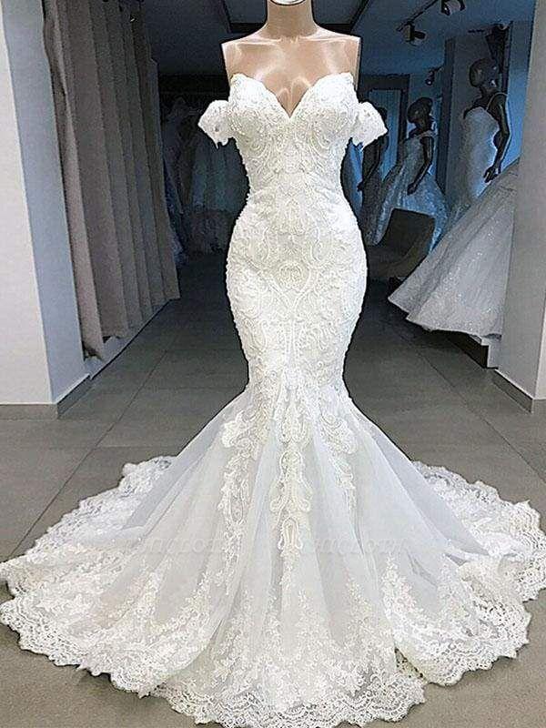 Chicloth Elegant Sweetheart Short Sleeves Lace Mermaid Wedding Dresses