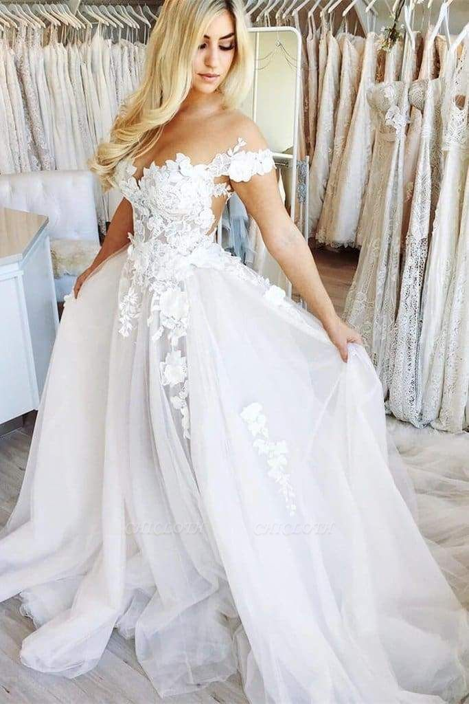 Chicloth New Chapel Train Appliques Tulle Wedding Dress