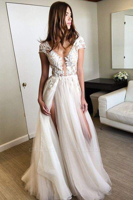 Chicloth Cap Sleeve Deep V-neck With Appliques Sexy Split Tulle Wedding Dress