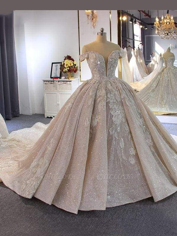 Chicloth Luxury Beading Off-the-Shoulder With Train Ball Gown Wedding Dresses