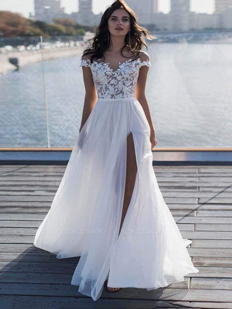 Chicloth Cap Sleeves Covered Button High Split Wedding Dresses