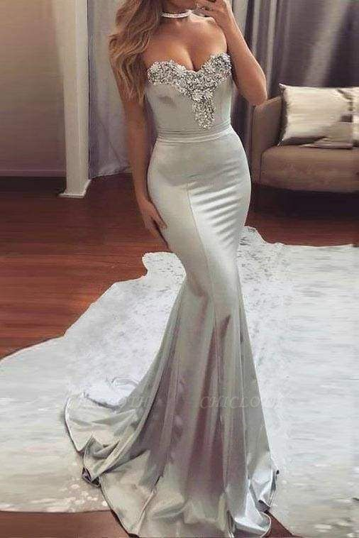Chicloth Sexy Silver Strapless Sweetheart Mermaid Beading Evening Long Prom Dress