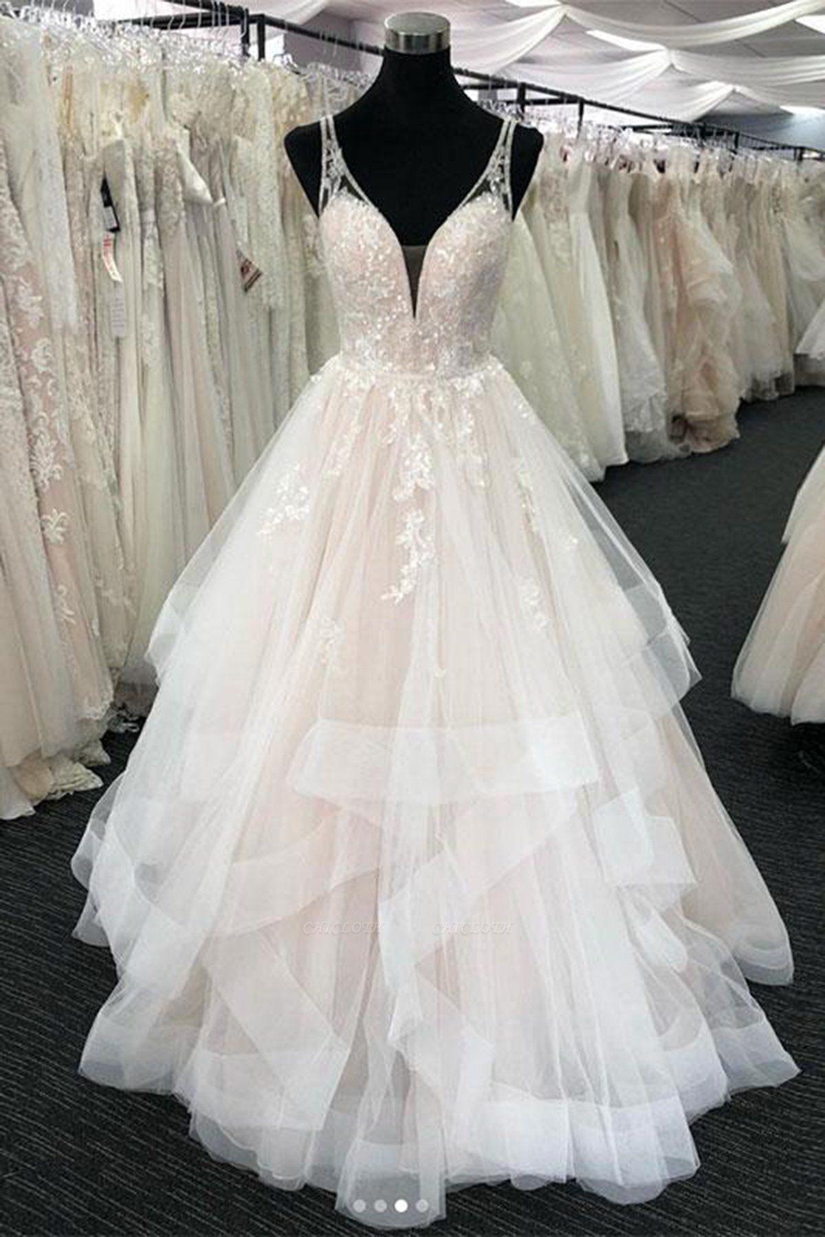 Chicloth White Tulle V Neck Open Back Long Layered  Wedding Dress