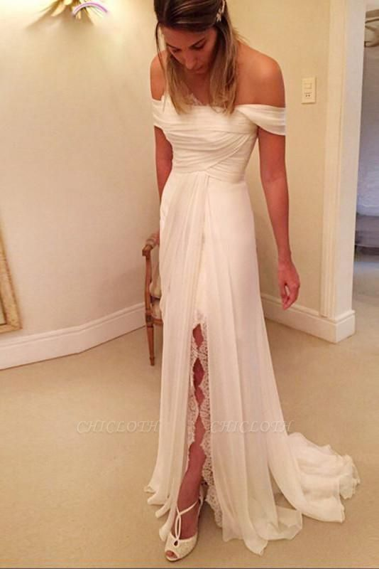 A-Line Off-the-Shoulder Long Chiffon Beach Wedding Dress