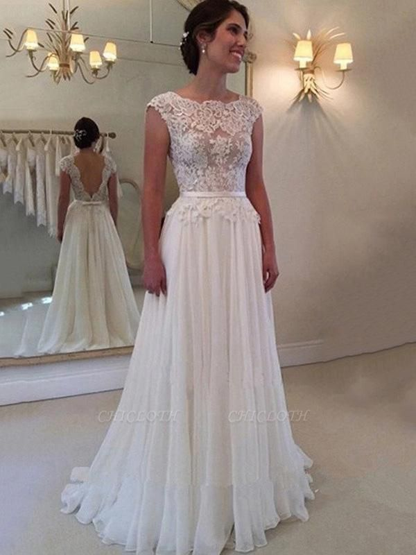 Cheap Jewel Backless Lace A-Line Wedding Dresses