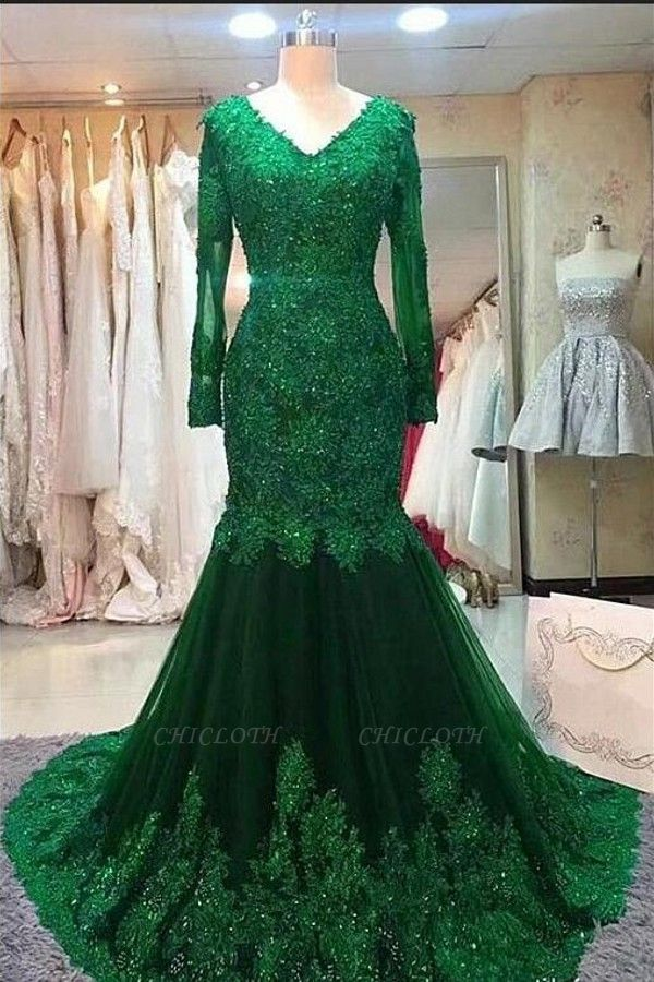 ZY407 Green Evening Dress Evening Dresses Long With Sleeves