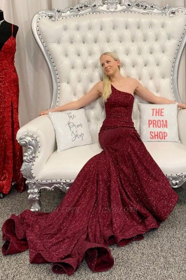 ZY415 Long Glitter Prom Dresses Red Evening Dresses Cheap