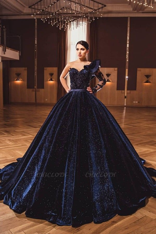 ZY385 Princess Evening Dresses With Sleeves Long Glitter Prom Dresses