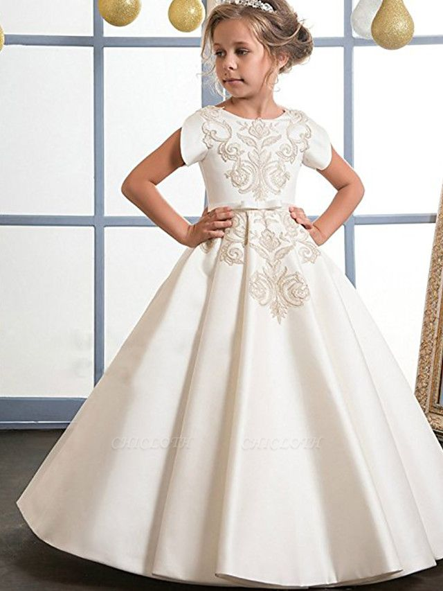 A-Line Floor Length Wedding / Birthday / Pageant Flower Girl Dresses - Mikado / Cotton Short Sleeve Jewel Neck With Sash / Ribbon / Pattern / Print