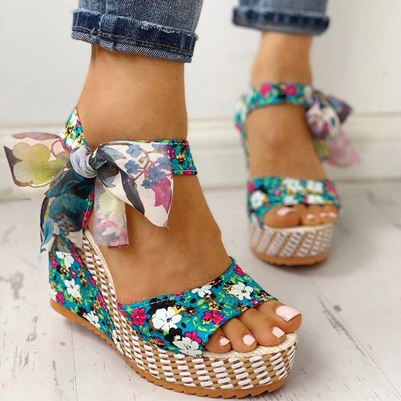 FFT416 Women Platform Floral Bowknot Ankle Strap Peep Toe Wedge Sandals