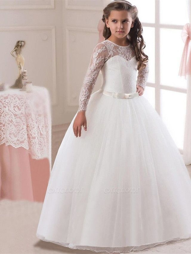 Princess Long Length Wedding / First Communion Flower Girl Dresses - Lace / Satin / Tulle Long Sleeve Jewel Neck With Lace / Belt