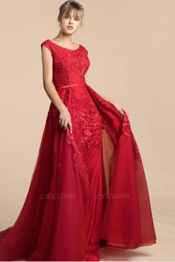 ZY378 Red Evening Dresses Long Cheap Prom Dress Lace Online