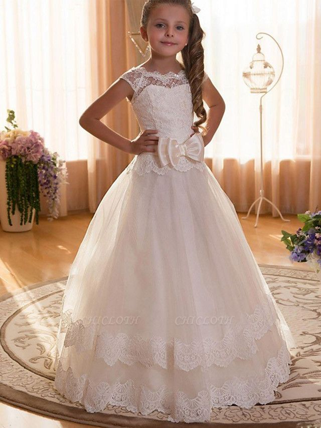 Ball Gown Maxi Wedding / Birthday / Pageant Flower Girl Dresses - Chiffon / Tulle / Cotton Cap Sleeve Jewel Neck With Lace / Sash / Ribbon / Solid