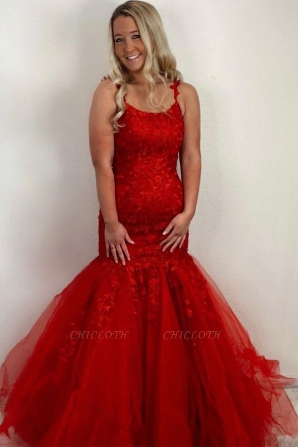 ZY414 Red Prom Dresses Long Cheap Evening Dresses Lace