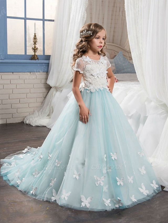 Ball Gown Sweep / Brush Train Wedding / Birthday / Pageant Flower Girl Dresses - Tulle / Cotton Short Sleeve Jewel Neck With Lace / Embroidery / Appliques