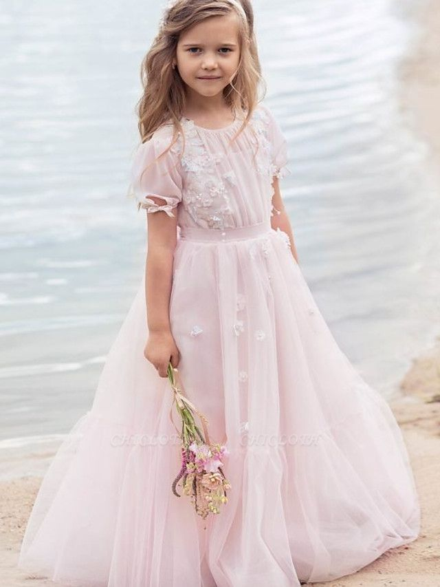 Princess / A-Line Knee Length Wedding / Party Flower Girl Dresses - Tulle Half Sleeve Jewel Neck With Appliques / Solid