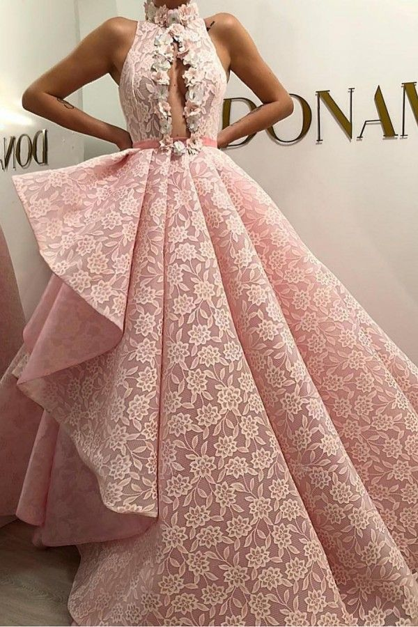 ZY421 Evening Dress Long Pink Cheap Evening Dress Lace