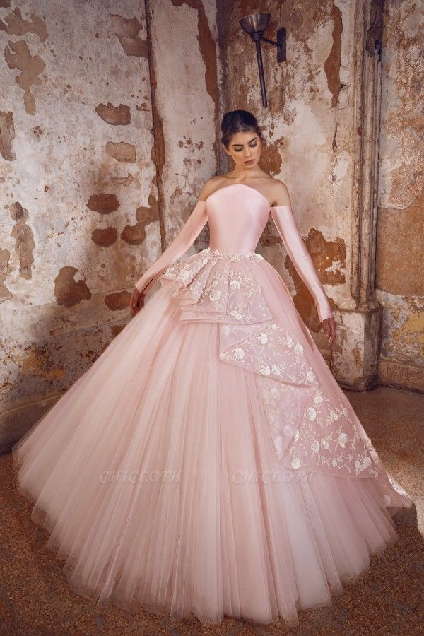 ZY433 Evening Dress Long Pink Prom Dresses With Sleeves