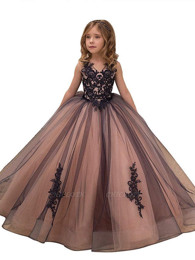 Ball Gown Maxi Birthday / Pageant Flower Girl Dresses - Tulle / Satin Chiffon Sleeveless V Neck With Lace / Embroidery / Appliques