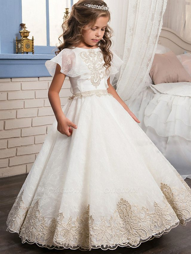 Ball Gown Floor Length Wedding / Birthday / Pageant Flower Girl Dresses - Lace / Tulle / Cotton Short Sleeve Jewel Neck With Lace / Beading / Embroidery